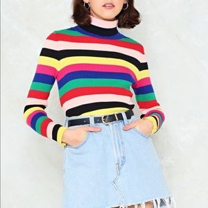 Nasty Gal Rainbow Turtleneck Sweater